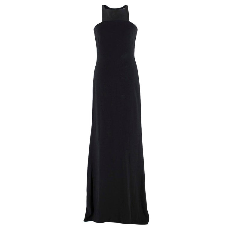 Osman Black Long Dress with Leather Collar estimated SIZE XS-S For Sale