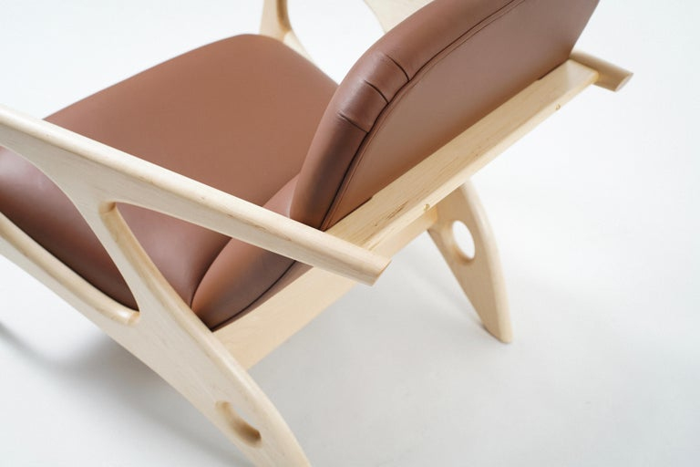 American Osprey Lounge Chair with Maple Frame and Leather Upholstery For Sale