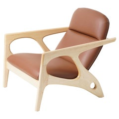 Osprey Lounge Chair with Maple Frame and Leather Upholstery