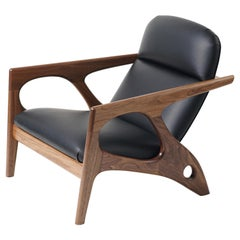 Osprey Lounge Chair with Walnut Frame and Leather Upholstery
