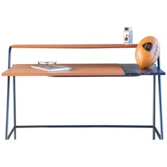 Ossau Writing Desk Brown Leather, Arabescato Marble and Metal