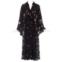 Ossie Clark black silk floral printed bell sleeve dress, ca. 1971