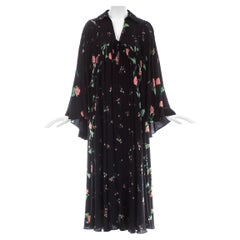 Ossie Clark black silk floral printed bell sleeve dress, ss 1971