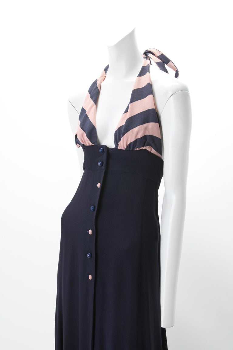 Ossie Clark Celia Birtwell Moss Crepe Halter Dress c. 1970s  UK 34; Navy and Blush Empire Halter Dress with Self Ties at Neck; Matching Center Front Button Closure.