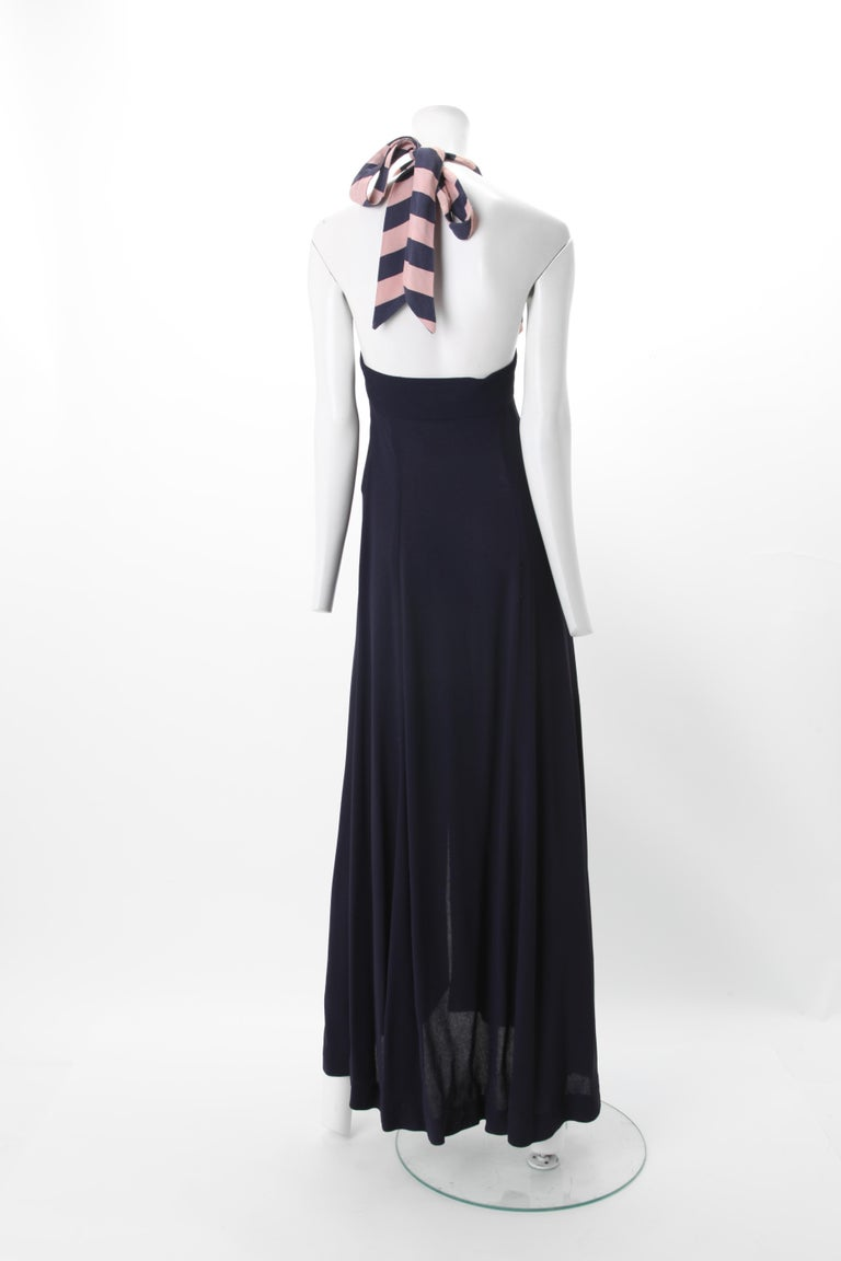 Ossie Clark Celia Birtwell Moss Crepe Halter Dress c. 1970s  UK 34 In Good Condition For Sale In New York, NY