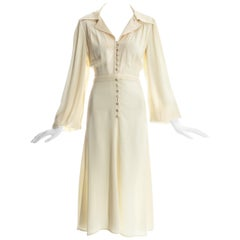 Ossie Clark cream moss crepe and satin button up dress, c. 1970