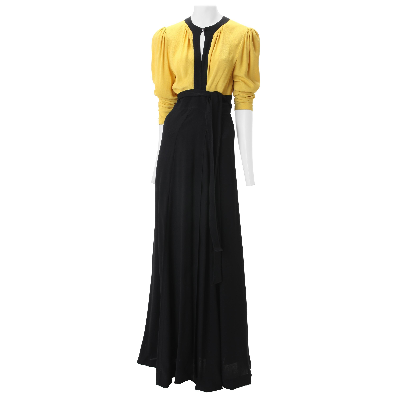 Ossie Clark Moss Crepe Wrap Dress c. 1970s UK 38