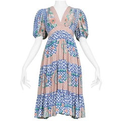 Ossie Clark Pink Blue And Green Floral Short Sleeve Flounce Dress