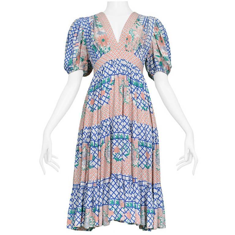 Ossie Clark Pink Blue And Green Floral Short Sleeve Flounce Dress