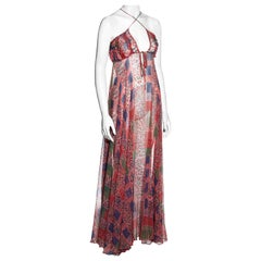 Ossie Clark pink silk chiffon maxi dress with Celia Birtwell print, ss 1976
