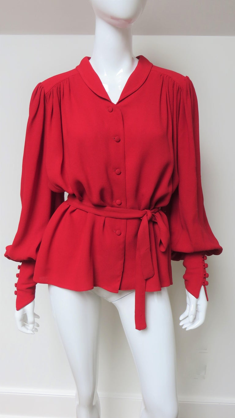 Red Ossie Clark Quorum Bohemian Blouse For Sale