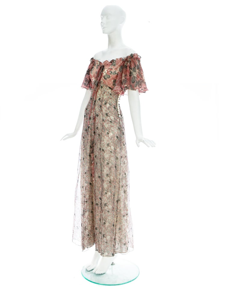 Ossie Clark silk off the shoulder dress with Celia Birtwell print c. 1970 In Good Condition For Sale In Chester, Chester
