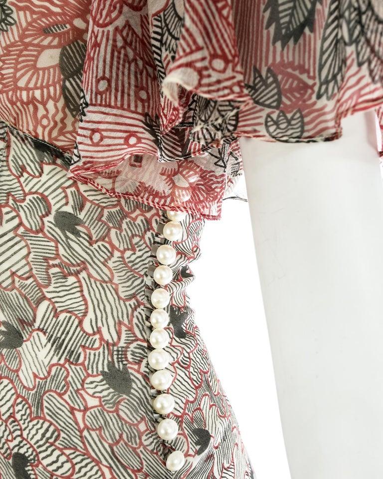 Women's Ossie Clark silk off the shoulder dress with Celia Birtwell print c. 1970 For Sale