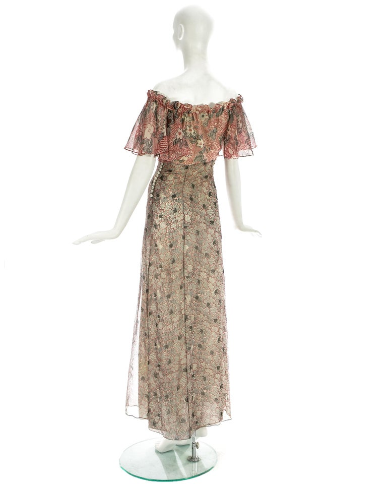 Ossie Clark silk off the shoulder dress with Celia Birtwell print c. 1970 For Sale 1