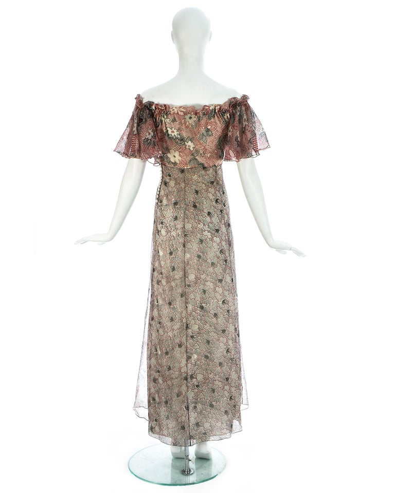 Ossie Clark silk off the shoulder dress with Celia Birtwell print c. 1970 For Sale 2