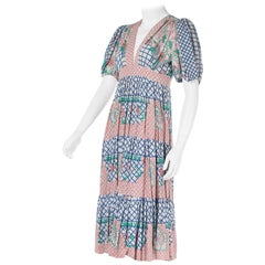 Ossie Clark w/Celia Birtwell Print Short-Sleeved Cotton Dress w/Plunge Neckline