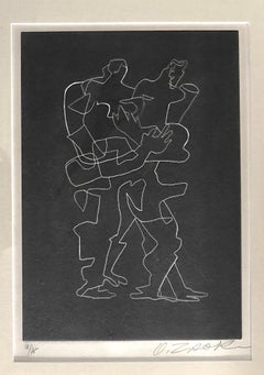 Cubist Russian French Etching Entwined Figures Bold Black & White Lithograph