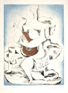 Guitar Player - Original Etching by Ossip Zadkine - 1962