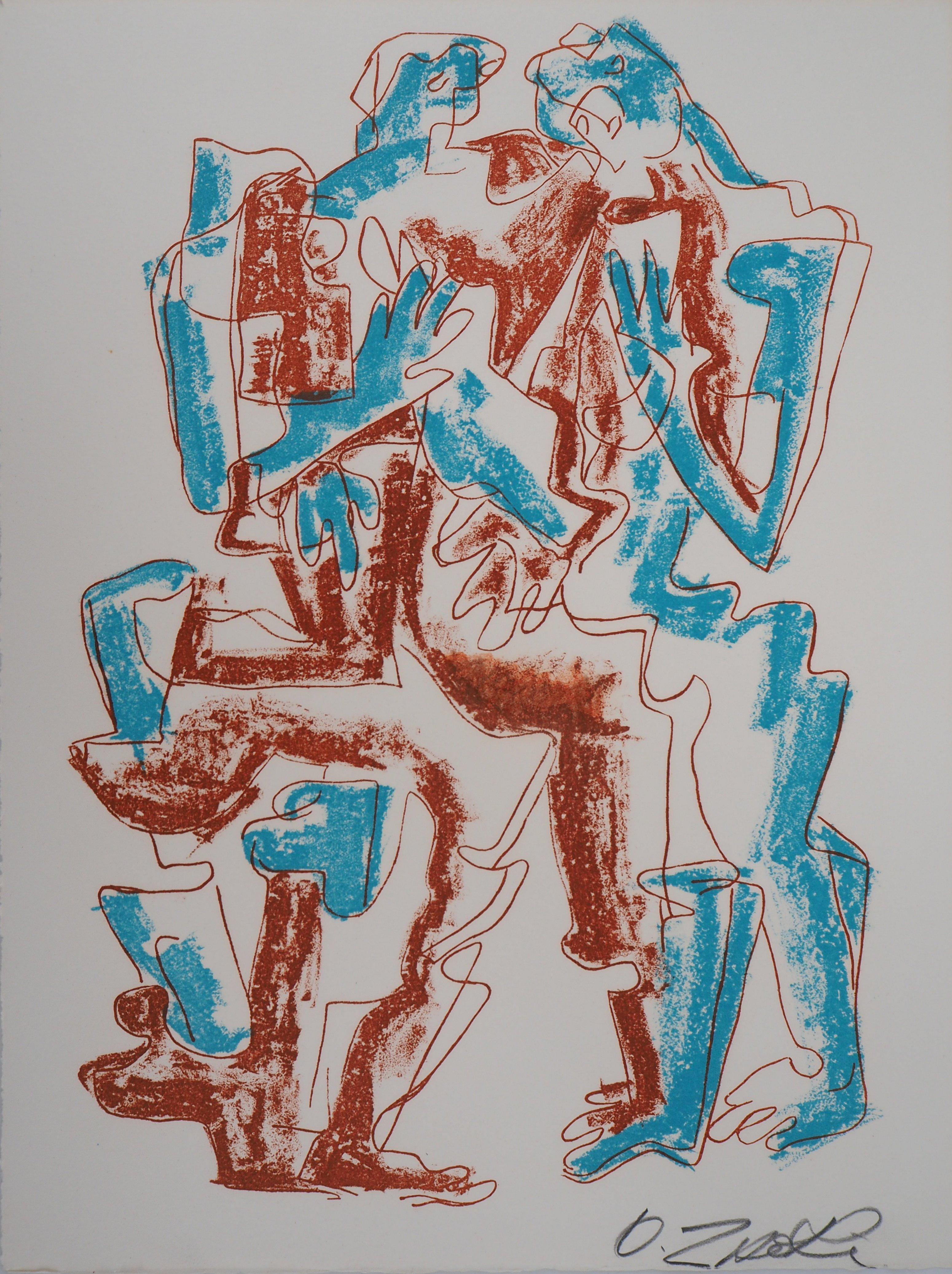 Hugging Couple - Original handsigned lithograph