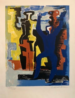 Large Cubist Color French Lithograph Zadkine Figures Les messagers du jour