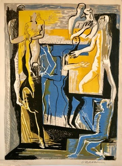 """Large Cubist Color Lithograph """"Les Marionettes Humaine"""" 1950's French"""