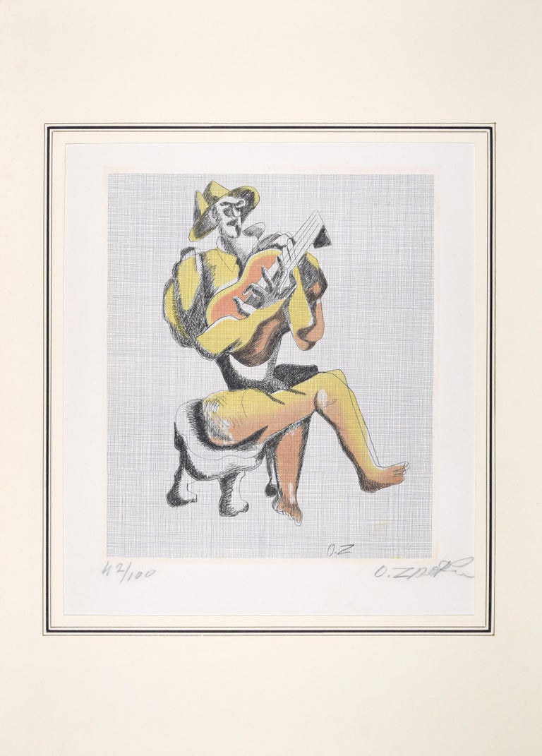 Le Guitariste - Original Etching by Ossip Zadkine - 1966 For Sale 1