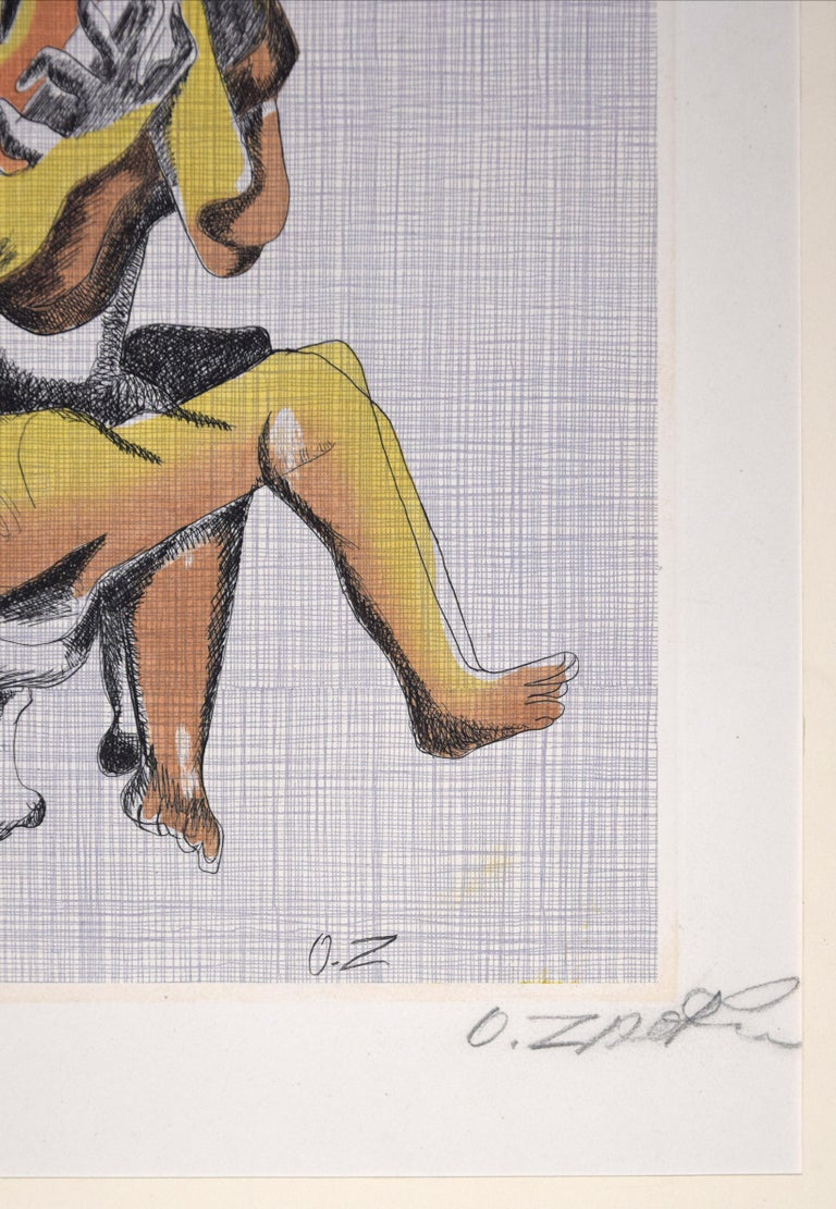 Le Guitariste - Original Etching by Ossip Zadkine - 1966 For Sale 2