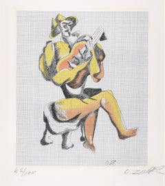 Le Guitariste - Original Etching by Ossip Zadkine - 1966