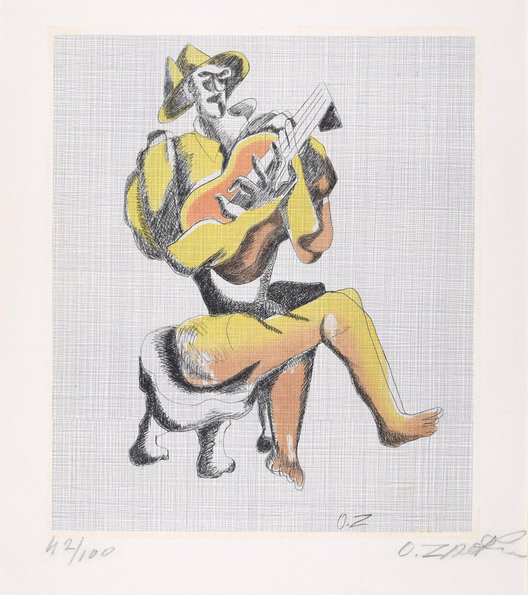 Rare and beautiful etching on lithographic base by Ossip Zadkine, realized in 1966. Hand signed. One of 100 numbered copies on a global edition of  135 which includes also 10 artist's proofs in color and 25 artist's proofs in black and white
