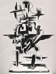Le Merveilleux Radeau - Original b/w Lithograph by Zadkine Ossip - 1966