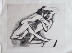 The Fight - Original Etching by Ossip Zadkine - 1967
