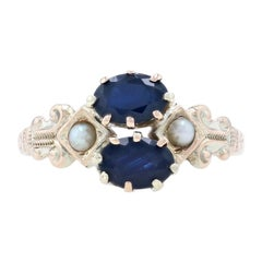 Ostby & Barton Sapphire & Pearl Victorian Ring Yellow Gold, 10k 1.28ctw Antique