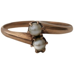 Ostby Barton Victorian Pearl Bypass Style Ring Yellow Gold Seed Pearls