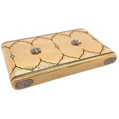 Ostertag Antique Enamel Diamond Box in Yellow Gold, circa 1920