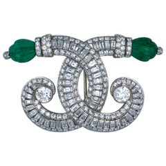 Ostertag Art Deco Emerald and Diamond Brooch