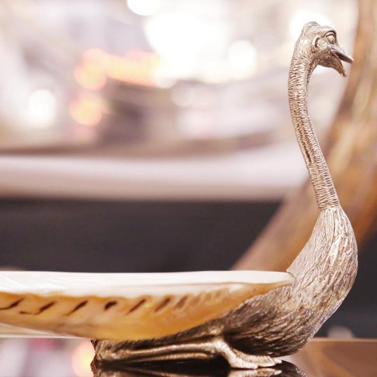 Ostrich and Shell Cup in Silvered Finish In New Condition For Sale In Paris, FR