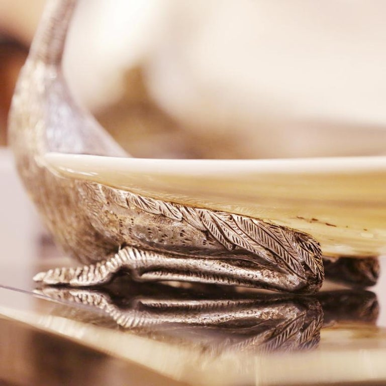 Metal Ostrich and Shell Cup in Silvered Finish For Sale