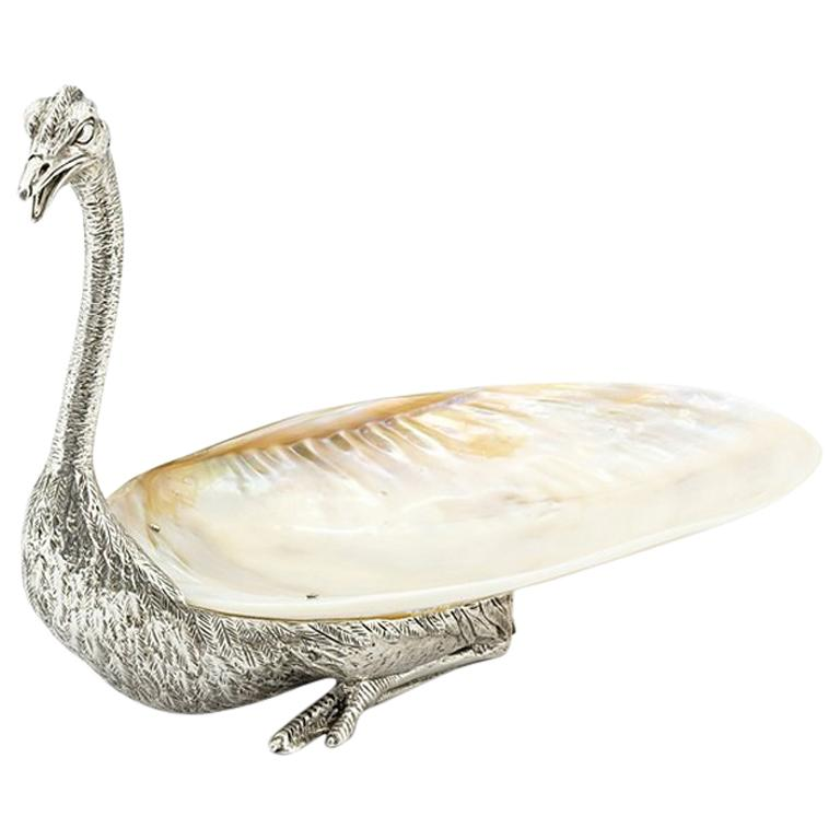 Ostrich and Shell Cup in Silvered Finish For Sale