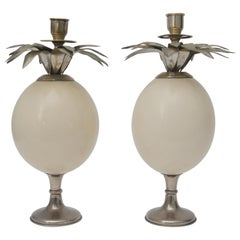 Ostrich Egg Candleholders