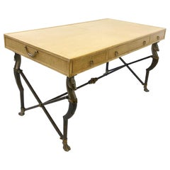 Ostrich Embossed Leather with Brass and Aluminum Campaign Desk by Marge Carson