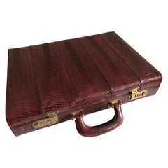 Ostrich Skin Men's Briefcase /Attaché Vintage Burgundy Suede Interior