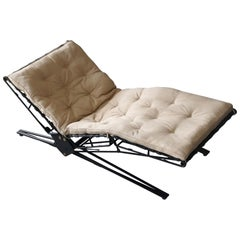 Osvaldo Borsani, Adjustable Daybed, Metal, Leather, Fabric, Tecno, Italy, 1956