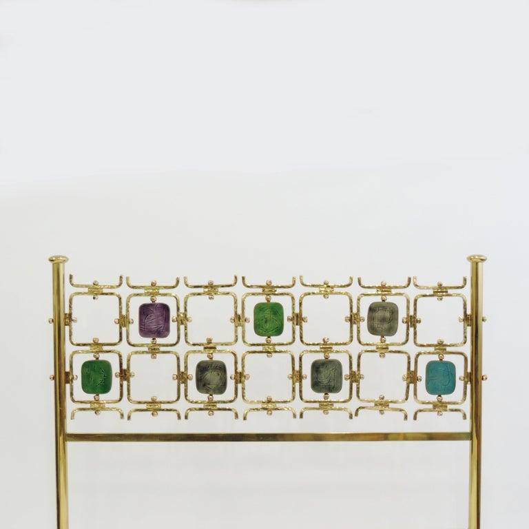 Rare Osvaldo Borsani and Arnaldo Pomodoro double bed model no. 8604, Italy, 1962 Spectacular color coordination a Masterpiece. Numbered brass pieces, original bedsprings and original Borsani PVC panels. Mattress size: 135 x 200 cm.