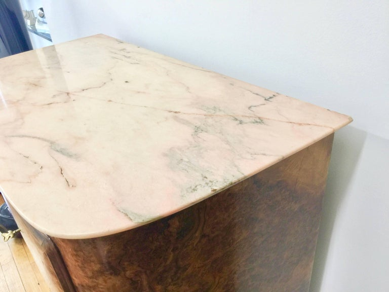 Osvaldo Borsani Attributed Tall Cabinet, Marble Top, Parchment Interior, 1950 For Sale 4