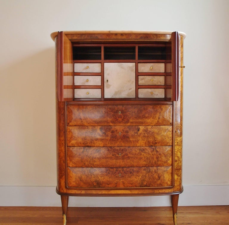 Mid-Century Modern Osvaldo Borsani Attributed Tall Cabinet, Marble Top, Parchment Interior, 1950 For Sale