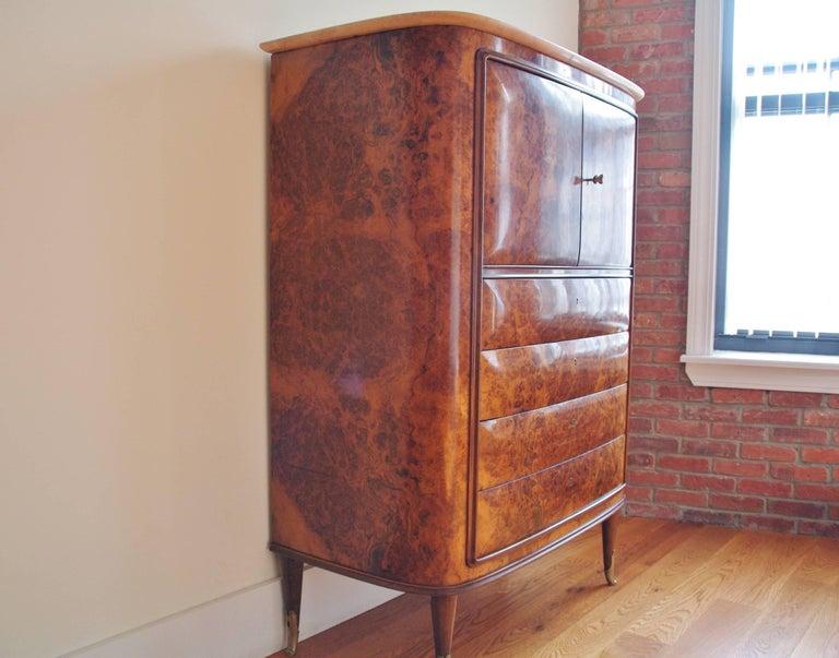 Italian Osvaldo Borsani Attributed Tall Cabinet, Marble Top, Parchment Interior, 1950 For Sale