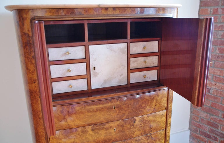 Osvaldo Borsani Attributed Tall Cabinet, Marble Top, Parchment Interior, 1950 In Good Condition For Sale In Jersey City, NJ
