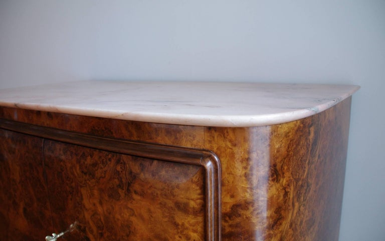 Osvaldo Borsani Attributed Tall Cabinet, Marble Top, Parchment Interior, 1950 For Sale 2