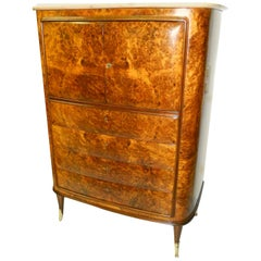 Osvaldo Borsani Attributed Tall Cabinet, Marble Top, Parchment Interior, 1950