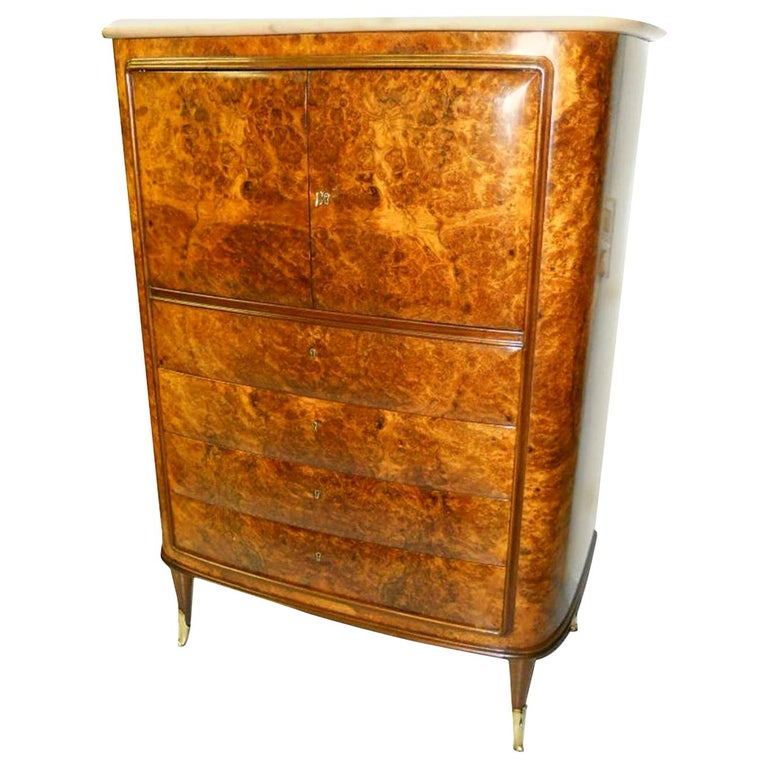 Osvaldo Borsani Attributed Tall Cabinet, Marble Top, Parchment Interior, 1950 For Sale